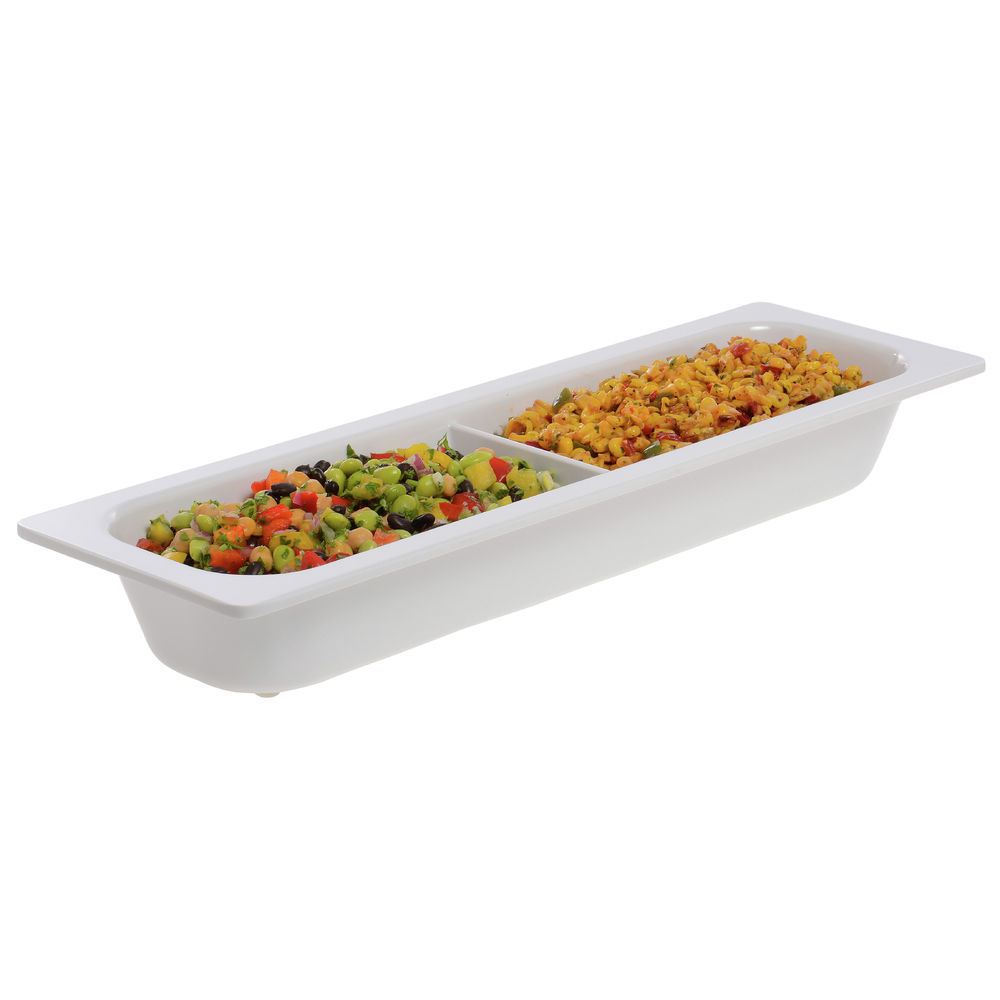 Cold Food Pan in White Half Size Long