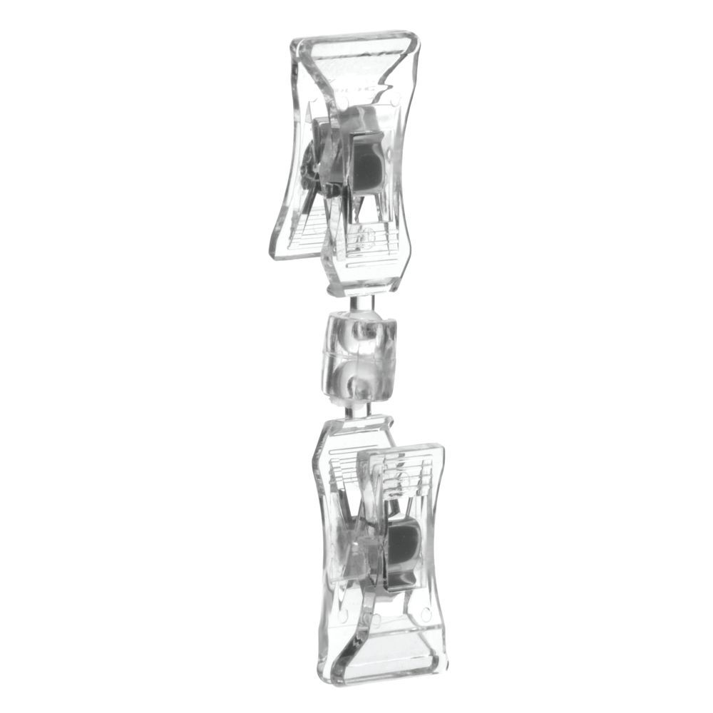 "|Clear Swivel Double Clip Sign Holder 3 1/2""W