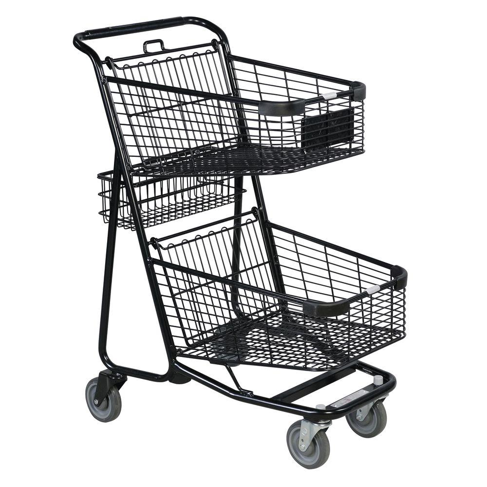 versacart double basket black metal express shopping cart with rear basket  4 u0026quot w x