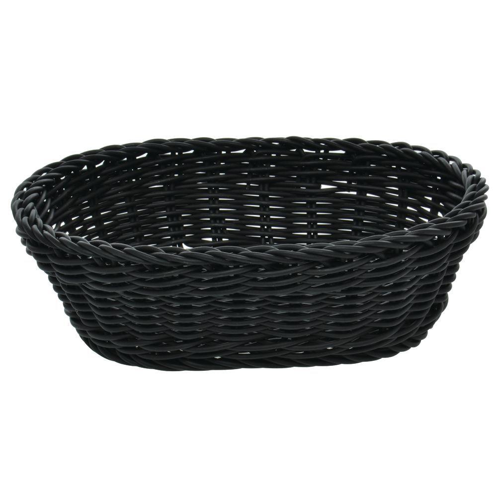 """Plastic Bread Basket, Black - 10-1/8""""L x 7-7/8""""W x 3-1/8""""H"""