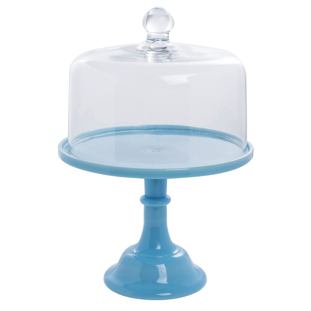 CAKE STAND, GLASS, 10DIAX8H, ROBIN EGG BLUE