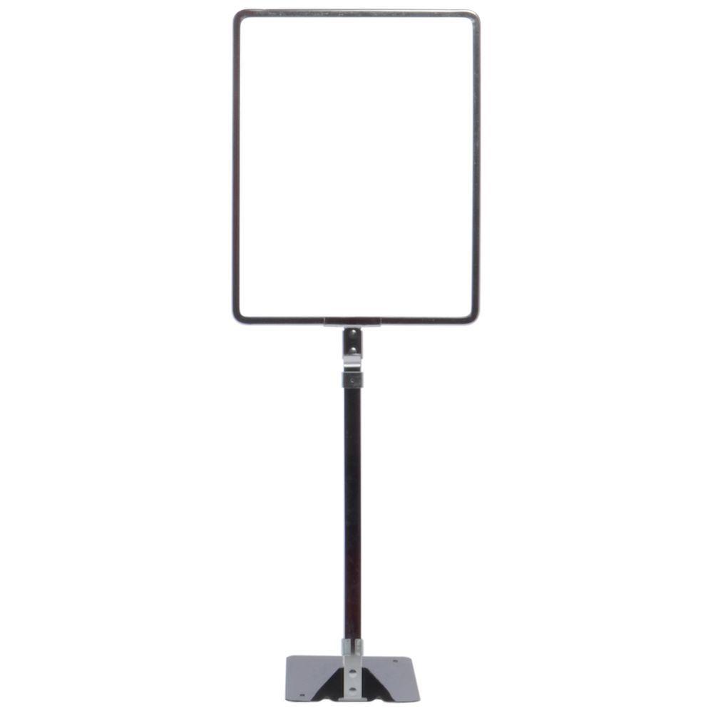 "Chrome Vertical Adjustable Metal Sign Holder Flat Base 23"" To 33""H For 11""H x 8 1/2""W"