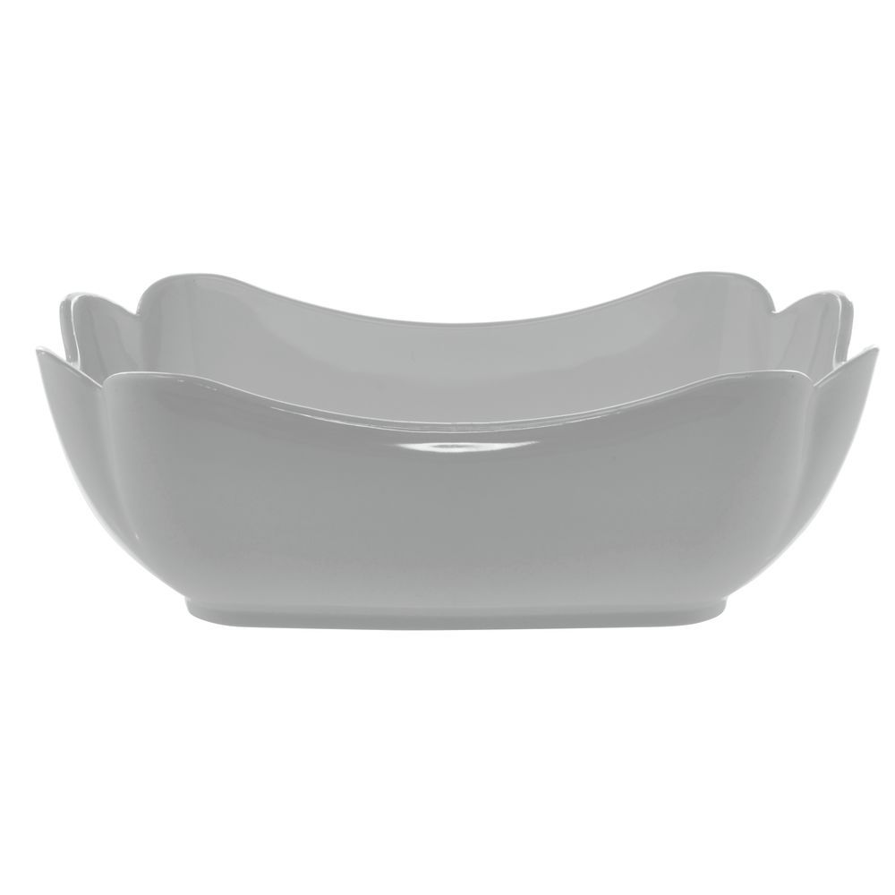 """Glossy Tulip Bowl in White SAN Plastic with 5lb Capacity 10""""L x 6""""W x 3 1/2""""H"""