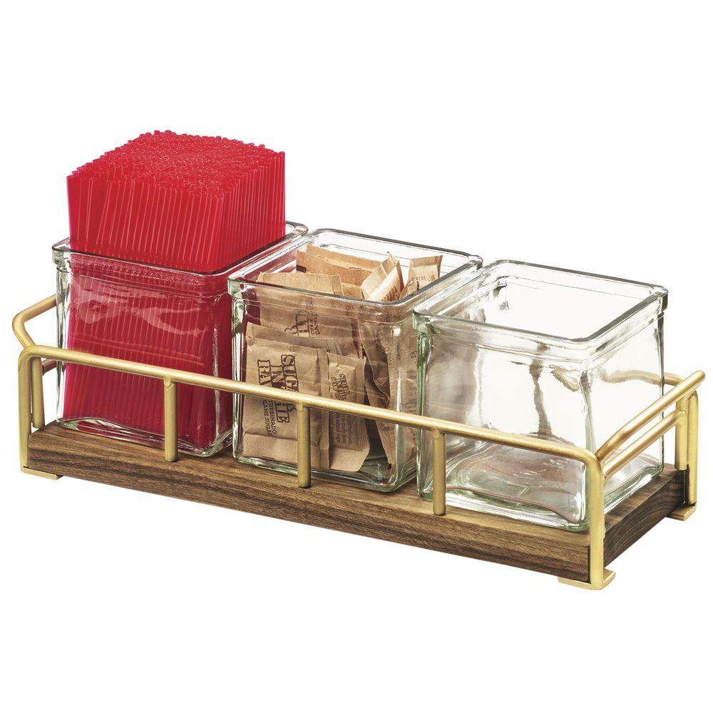 HOLDER, W/3 GLASS JAR, MID-CENTURY, BRASS