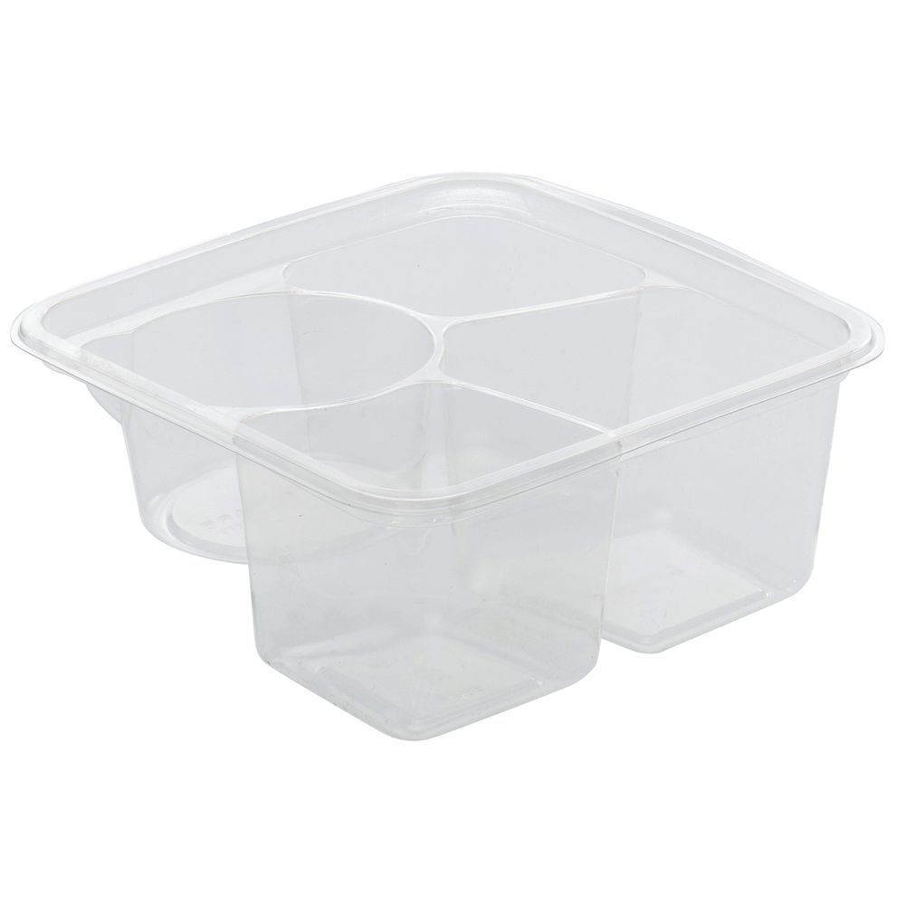 CONTAINER, GREENWARE, CLEAR, 3 CELL W/WELL