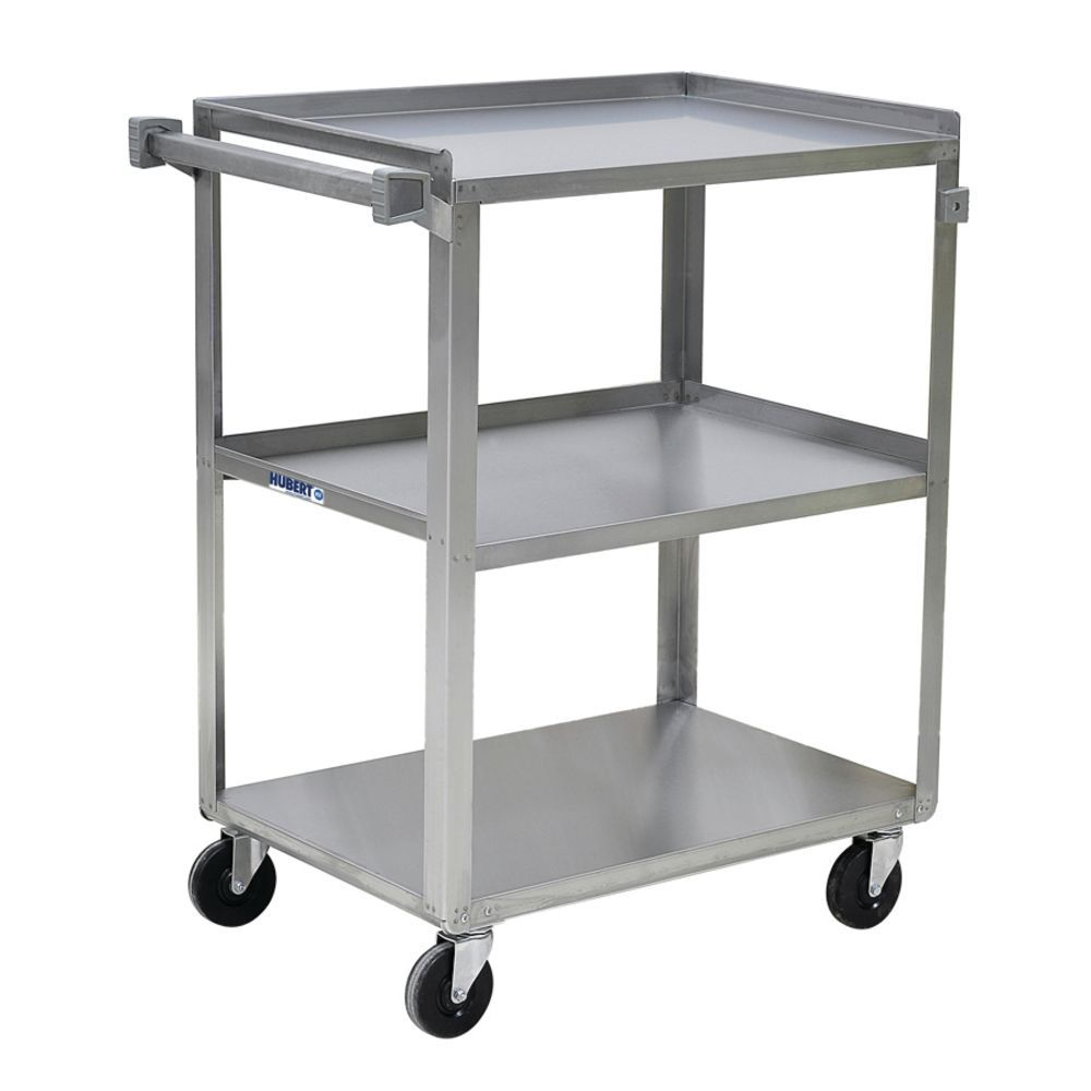 Hubert Stainless Steel 3 Shelf Medium Duty Utility Cart 31 L X 19 W X 32 H