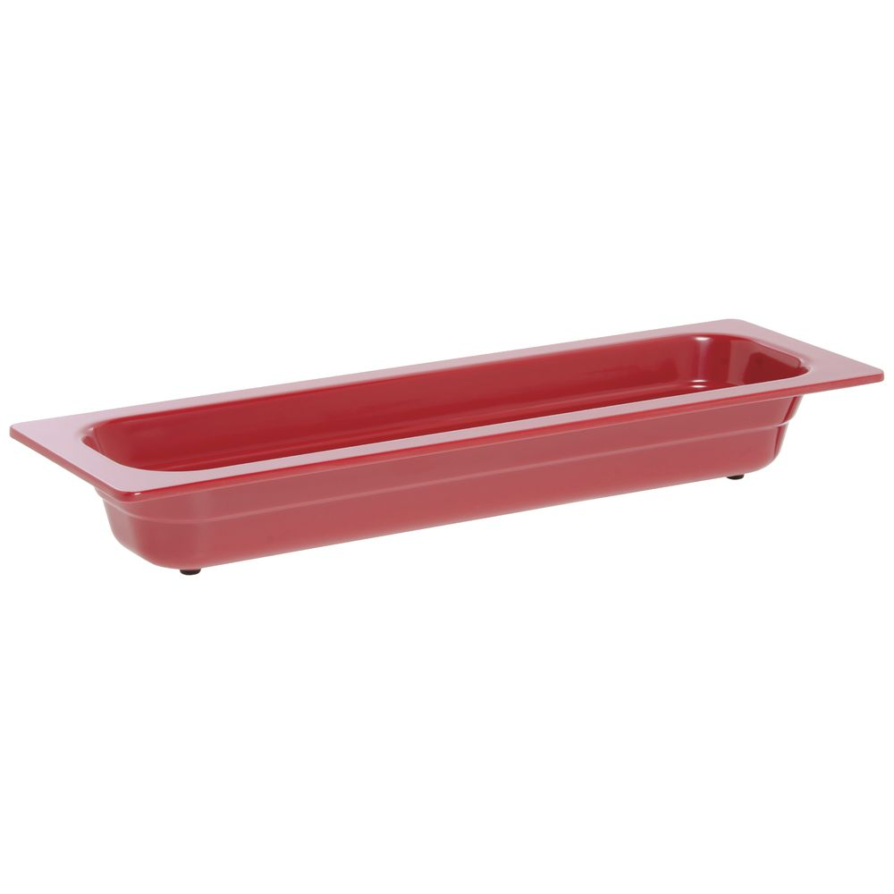 "Expressly Hubert® Half Size Long Melamine Pan Red 2.5""D"