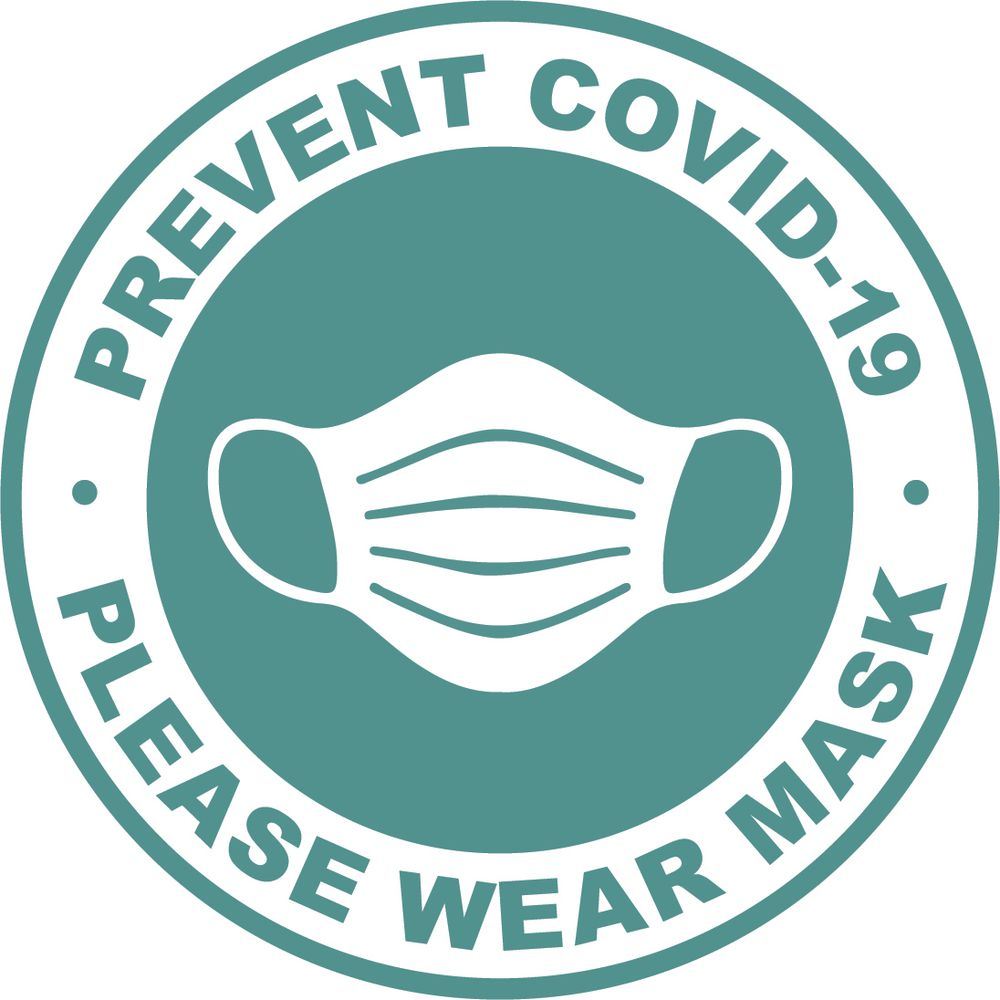 Teal/White Vinyl Prevent Covid-19 Please Wear Mask Decal