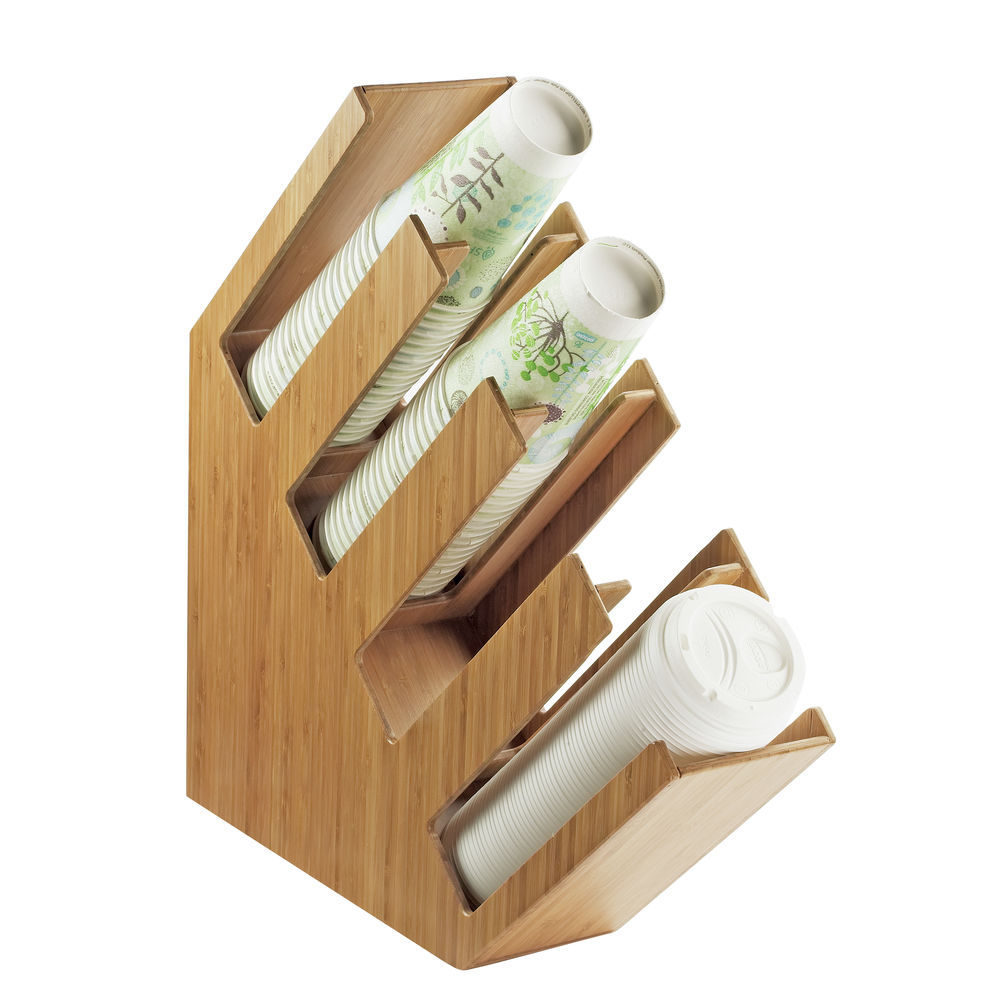 """DISPENSER, CUP/LID, BAMBOO, 4.5WX20DX19.5""""H"""
