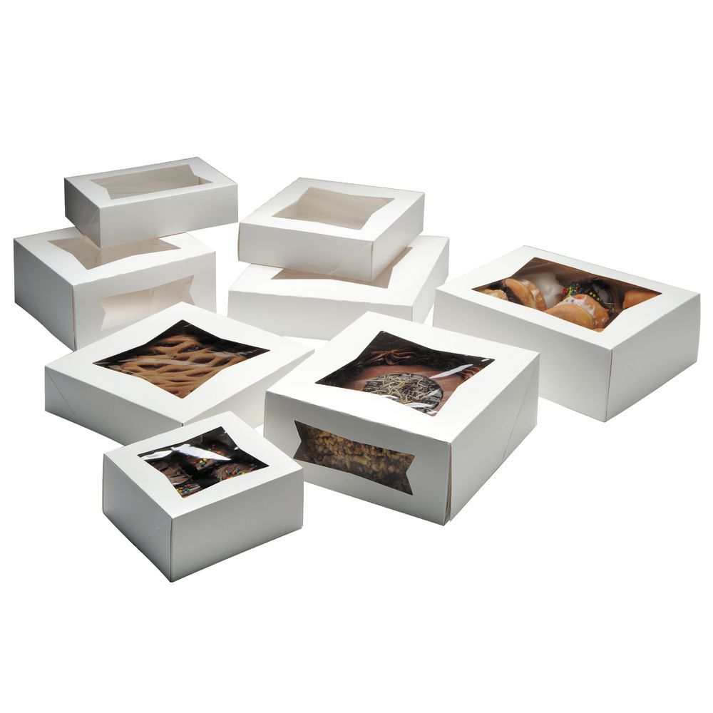 """Mini White Bakery Boxes With Windows One Piece Assembly 6""""L x 6""""W x 3""""D"""