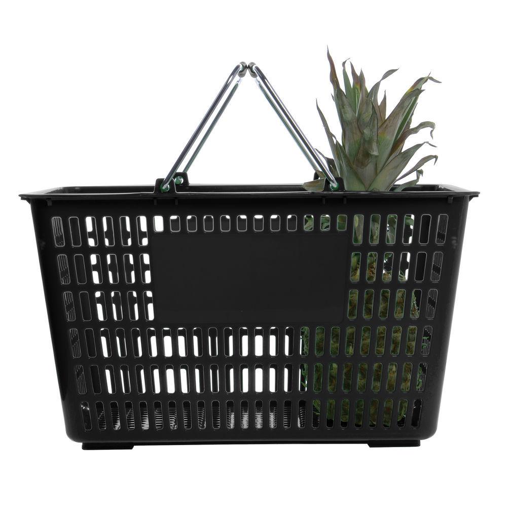 Wicker Storage Basket with Handles Black Plastic 14 L x 10 W x 2 1//2 D