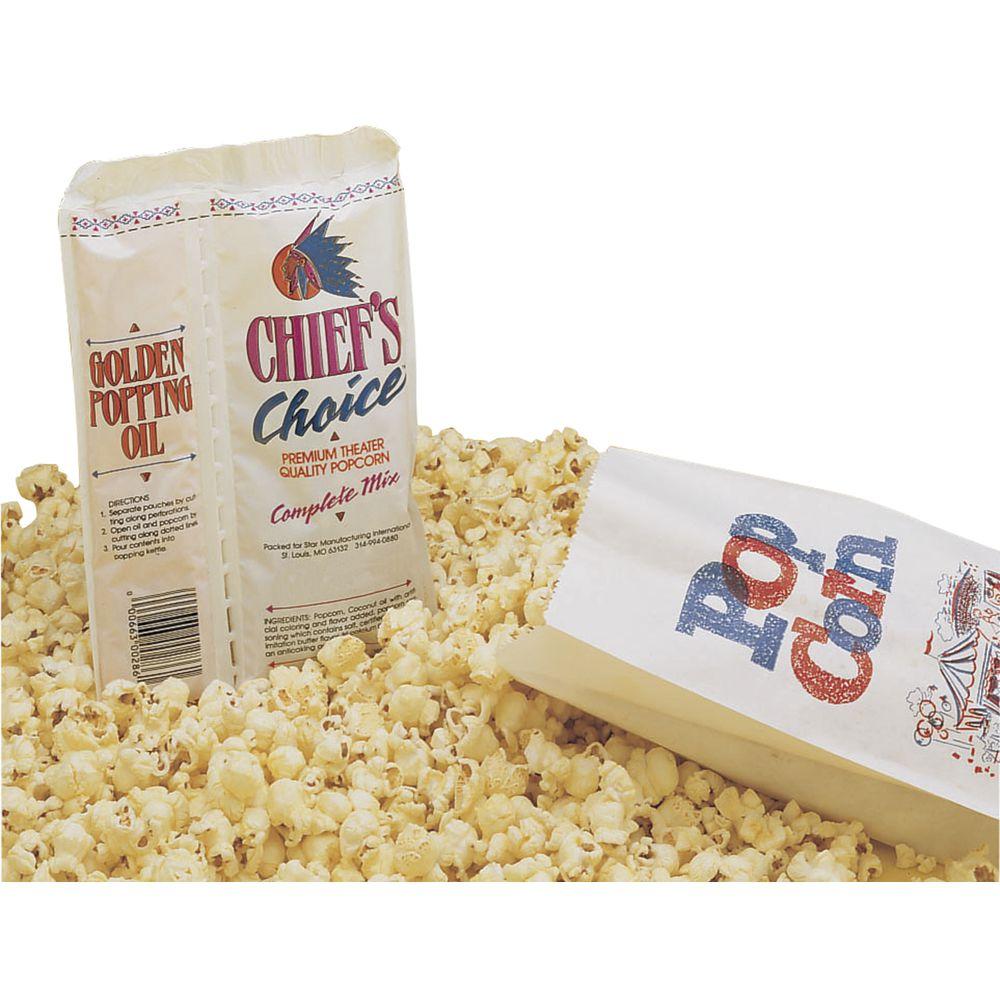 Chief's Choice Popcorn Portion Pack 4 oz Includes Popcorn Salt Flavoring 36 Per Case