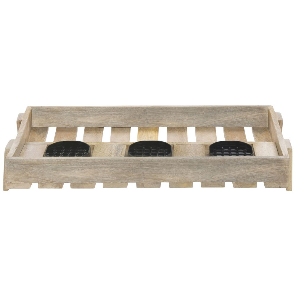 HOLDER, MANGO WOOD, AIRPOT, TRIPLE, W/TRAY