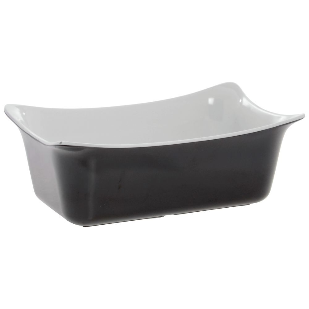Deli Bowl Has A Black Exterior And A White Interior