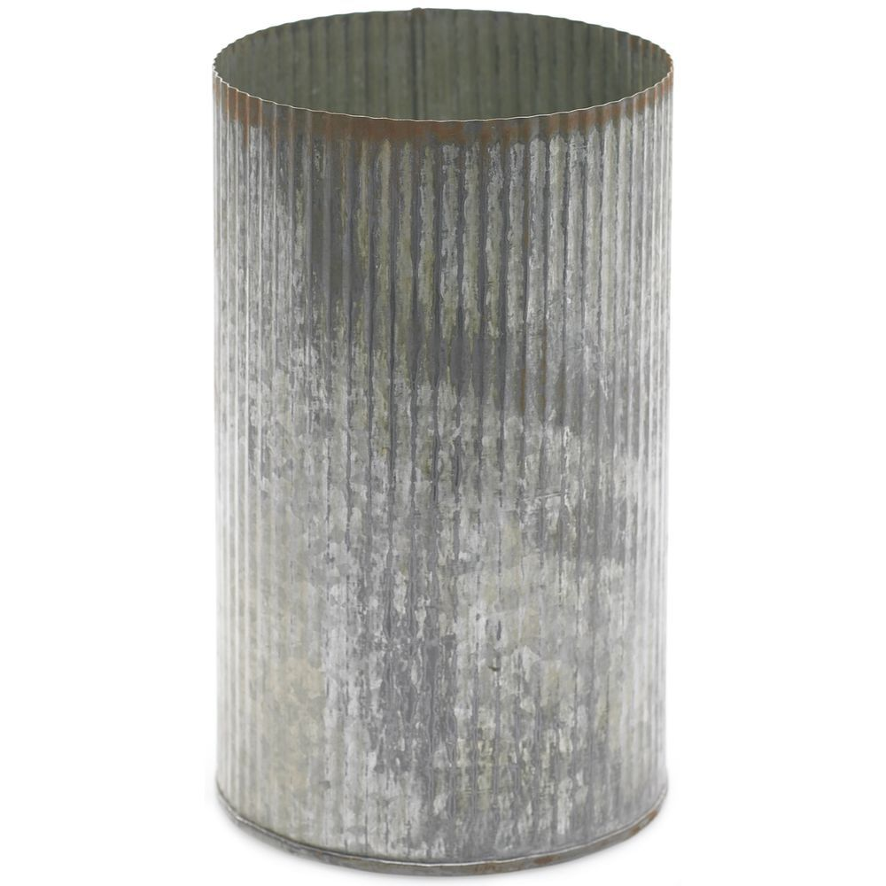 "CONTAINER, ZINC, LARGE, 7.5""H, SILVER"