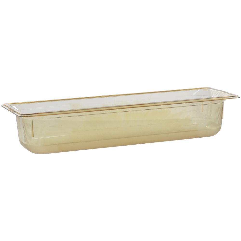 "Vollrath Super Pan Plastic High Temperature Pan Amber High Temp 1/2 Size Long 4""D"