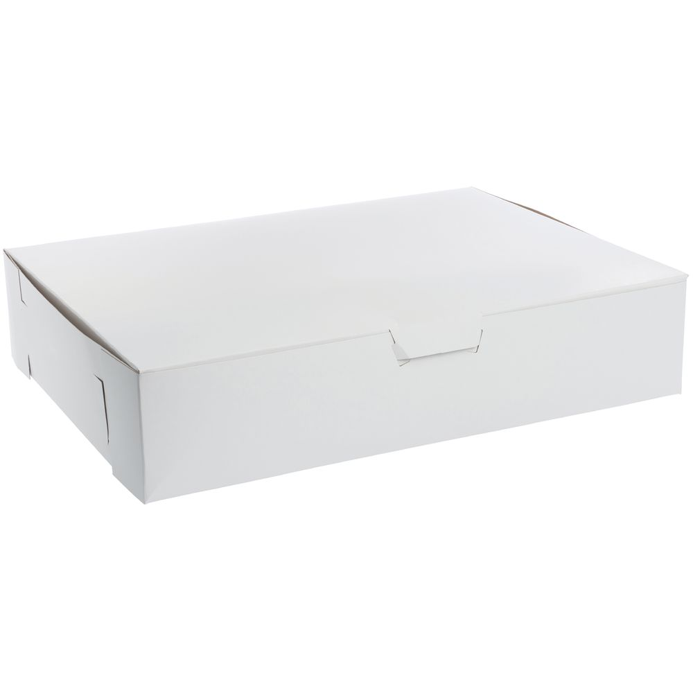 "Single Piece Bakery Box 19""L x 14""W x 4""H White Paperboard"