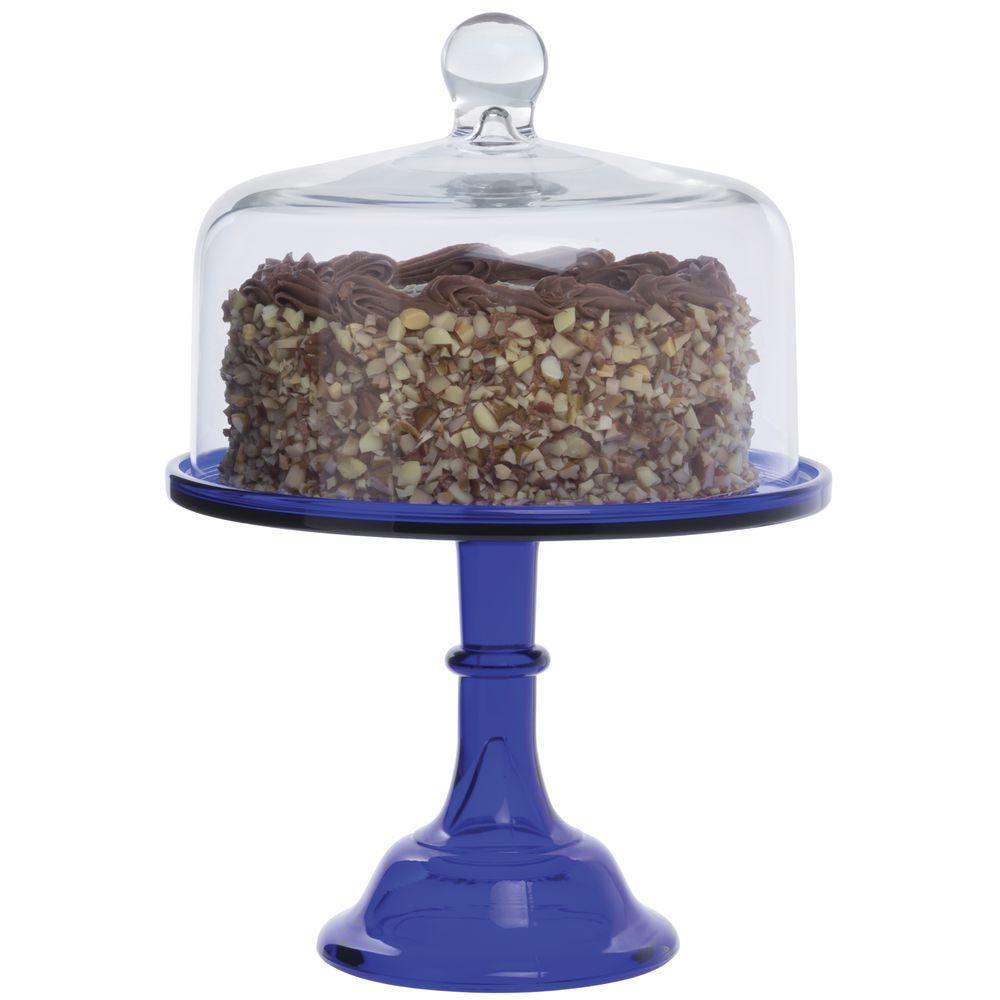 CAKE STAND, GLASS, 10DIAX8H, COBALT BLUE