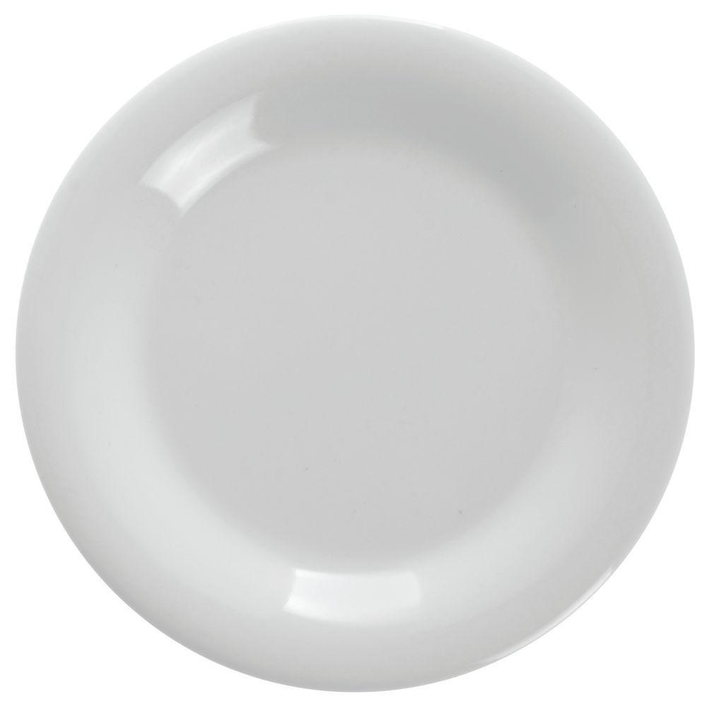 """G.E.T Diamond White Wide-Rim Melamine Plates 6 1/2"""" Dia Bright White"""