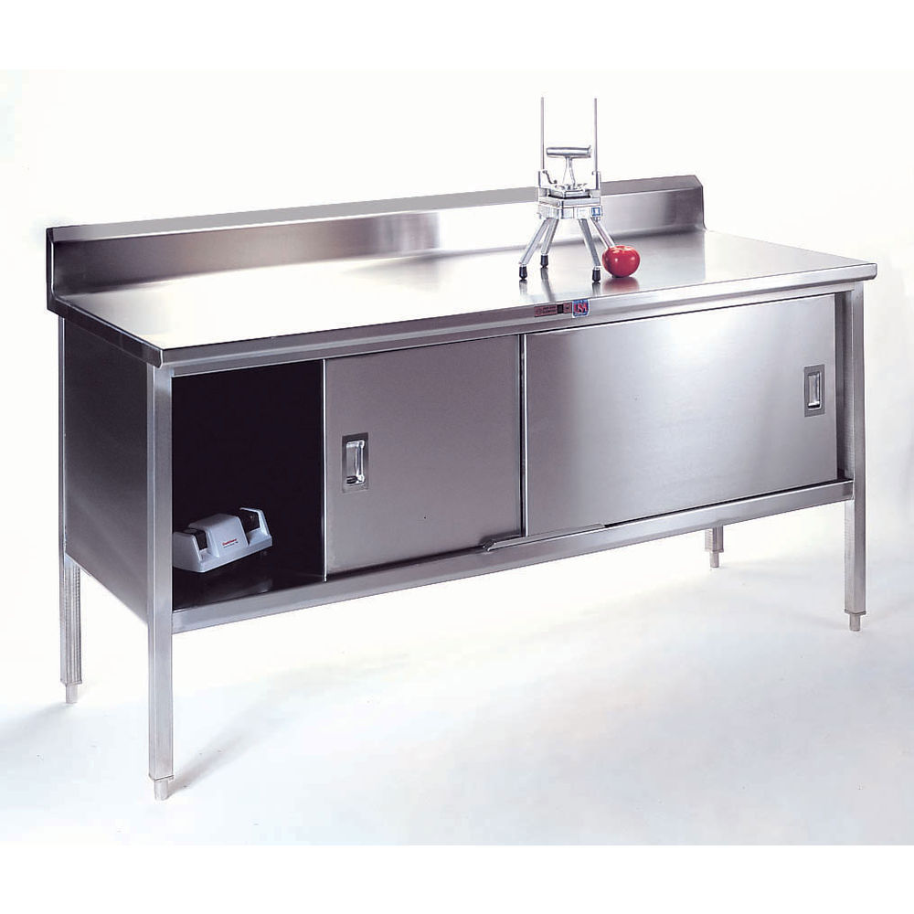 John Boos Stainless Steel Enclosed Table With Riser L X W - Enclosed stainless steel work table