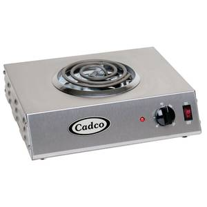 """HOT PLATE, SINGLE, STAINLESS W/6"""" PLATE"""
