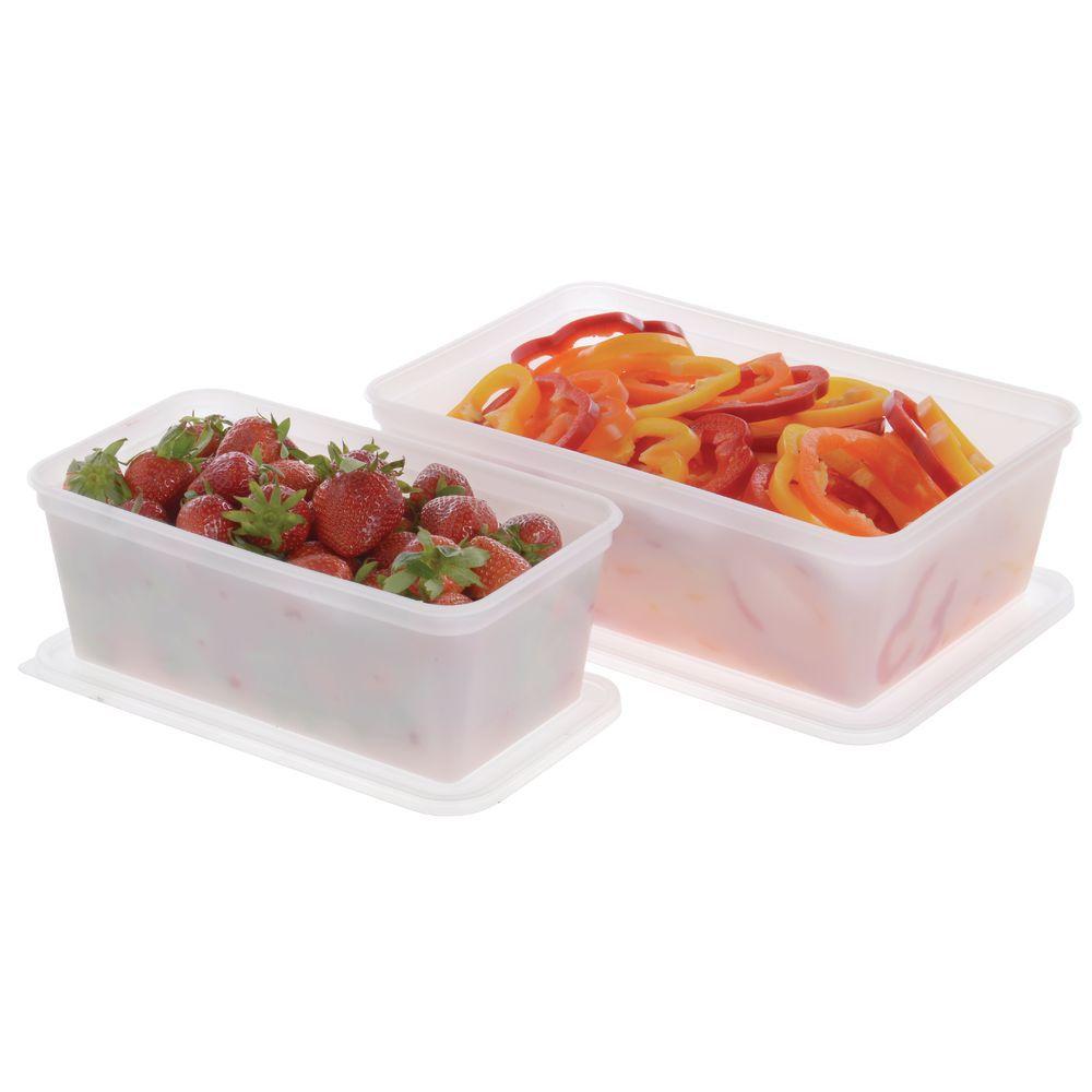 "Plastic Food Storage Boxes 12 5/8""L x 8 1/4""W  x 4 1/4""D Translucent"
