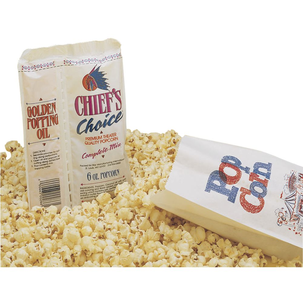 Chief's Choice Popcorn Portion Pack 6 oz Includes Popcorn Salt Flavoring 28 Per Case