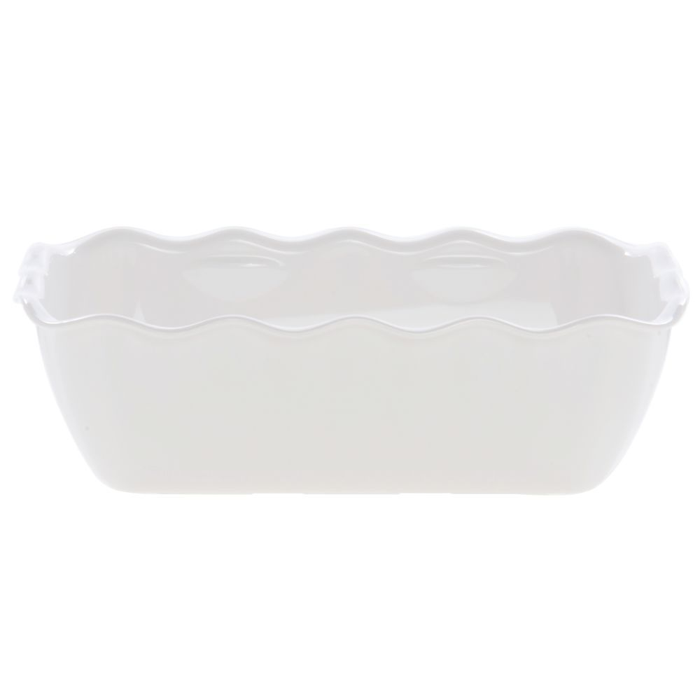 "Cambro Scalloped Deli Crock with 5lb Capacity in White SAN Plastic 10 1/4""L x 7""W x 3""H"
