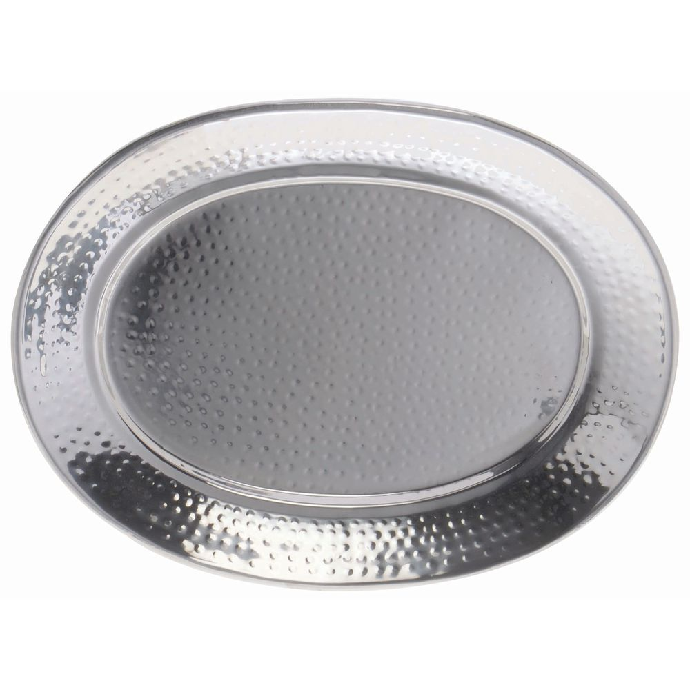 TRAY, 201 HAMMERED SS, OVAL, 15 X 11 X 1