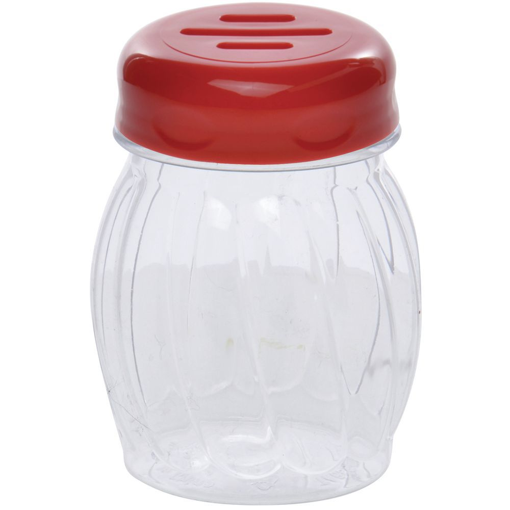 SHAKER, PLSTC, SWIRL, SLOT TOP, 6 OZ, RED