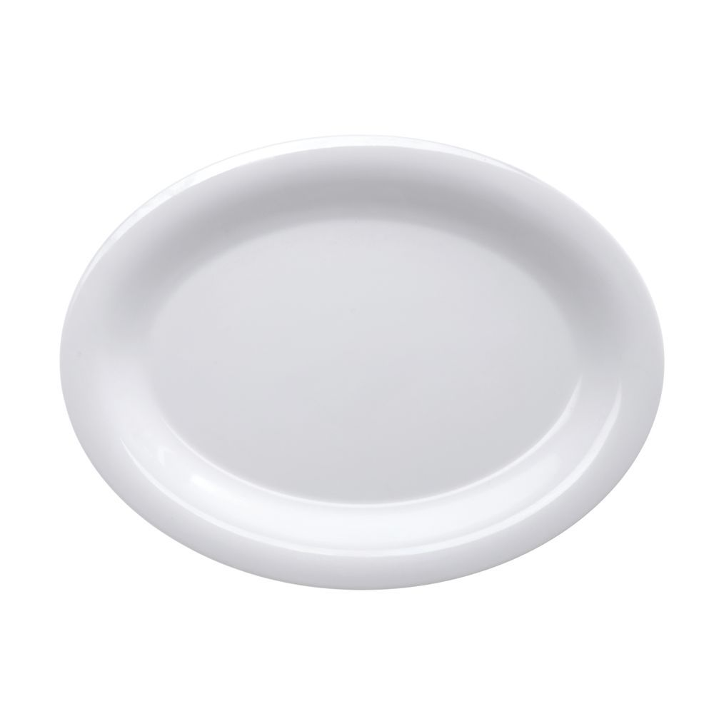 Bright White Oval Platter of Durable Melamine