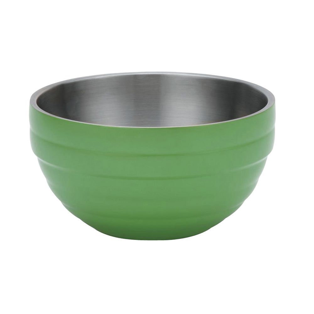 "Vollrath Double Wall Serving Bowls 9 1/2""Dia x 5""H Painted Stainless Steel Green Apple"