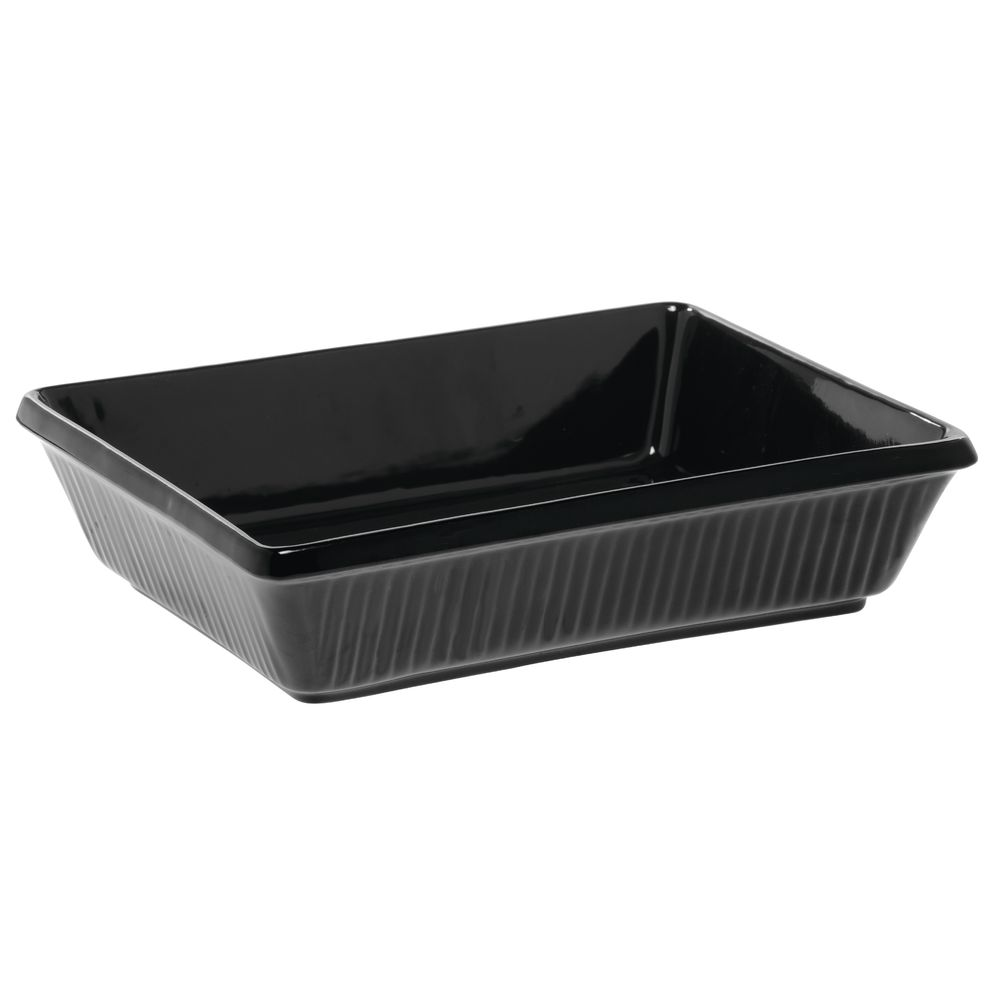 Coated Aluminum Serving Bowl Fluted 3 Qt 16 Oz Black