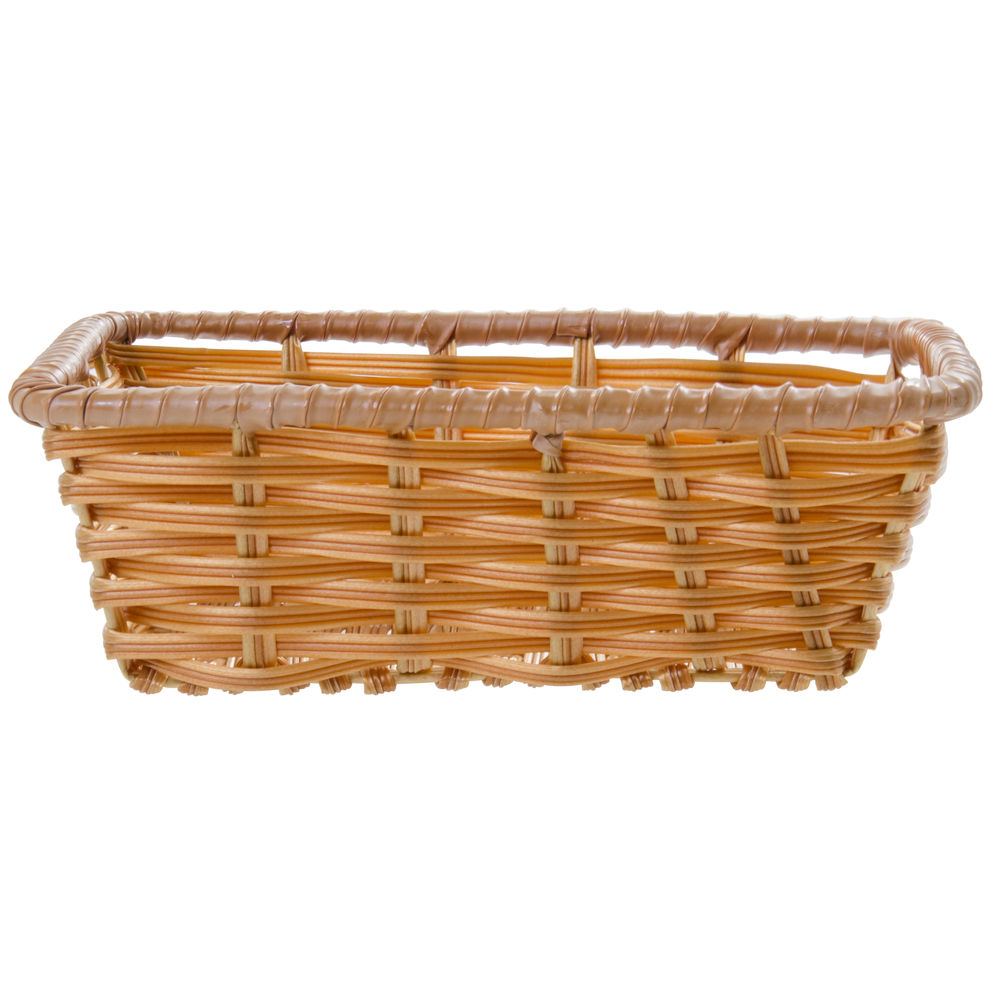 """Tri-Cord Washable Wicker Display Basket in Natural Color  10""""L x 7 1/2""""W x 3""""H"""