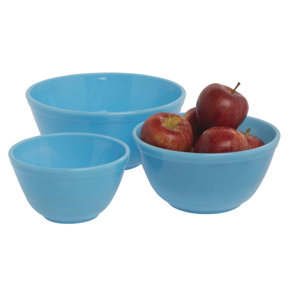 BOWL, MIXING, GLASS, ROBINS EGG BLUE, 3/SET