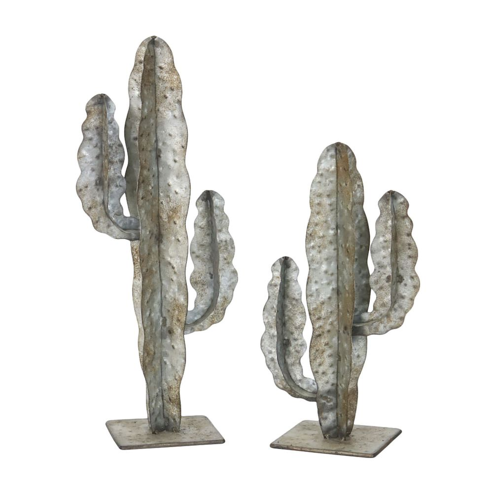 SET OF TWO METAL CACTUSES