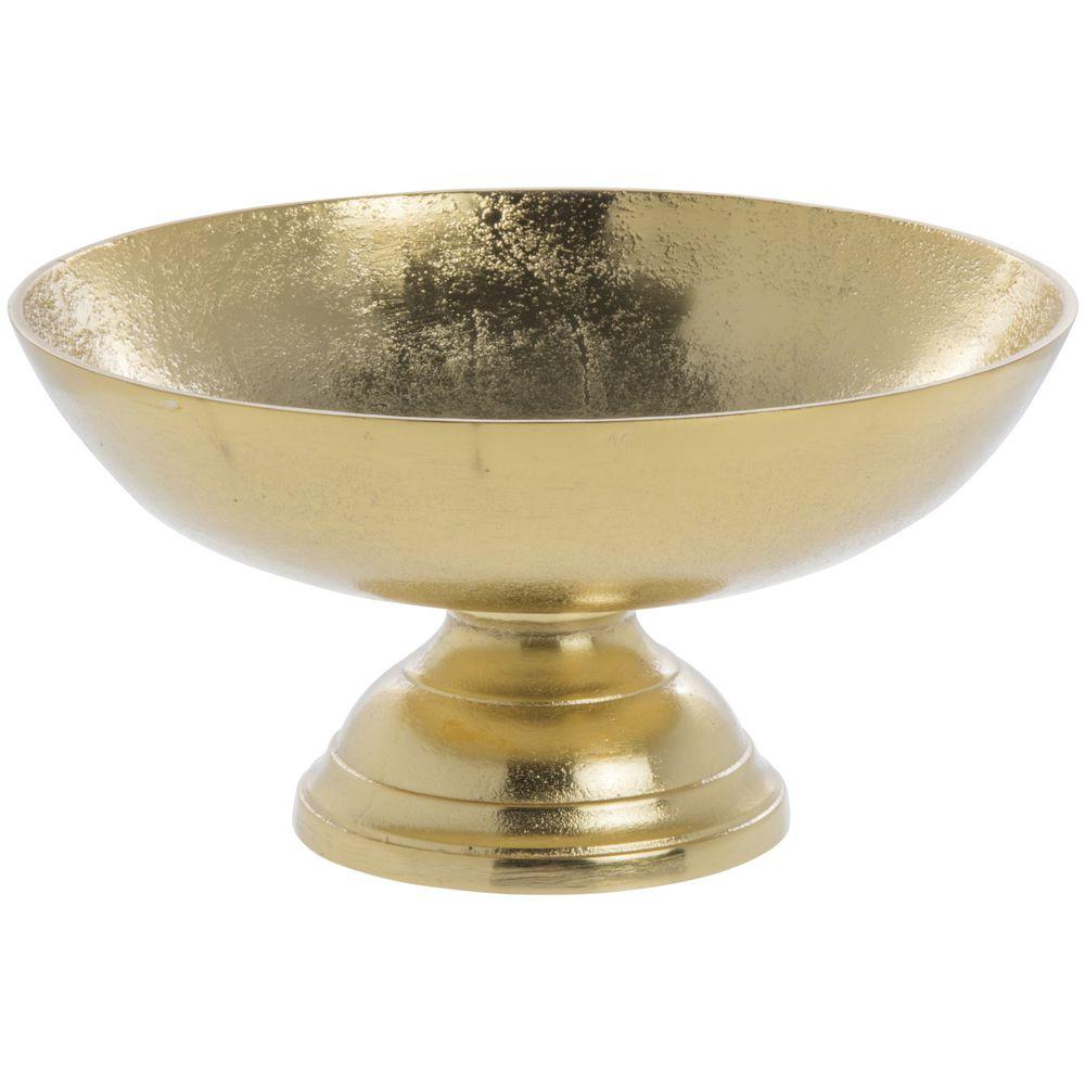 PEDESTAL BOWL, ALUMINUM, GOLD, 11.75 X 6