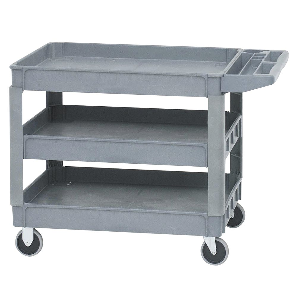 HUBERT Grey Plastic Large Utility Tub Cart - 38L x 26W x 42H