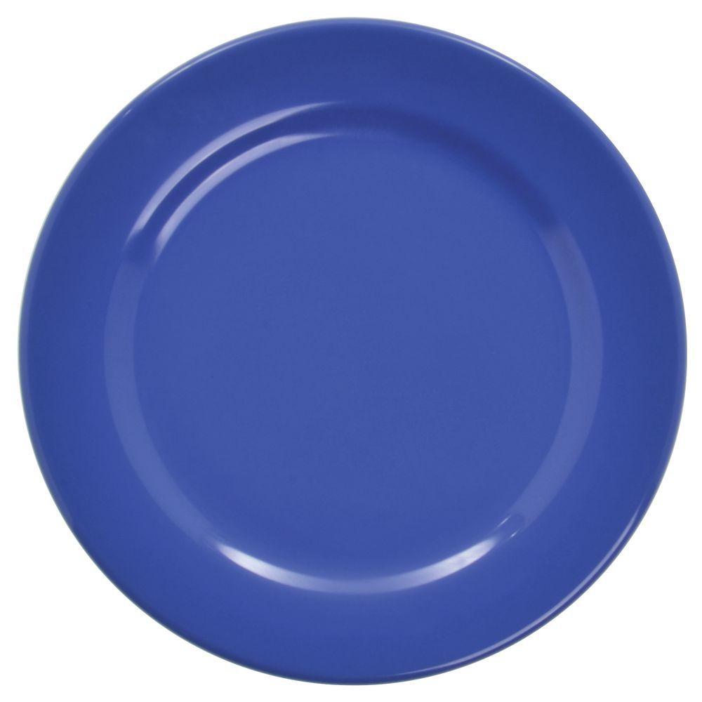 "Elite Rio Melamine Dinnerware Round Rim Plate 9"" Dia Winter Blue"