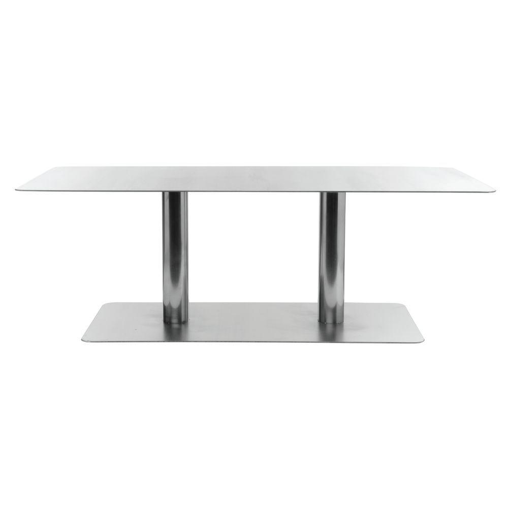 "Rectangular Metal Pedestal 24""L x 12""W x 8""H Stainless Steel"