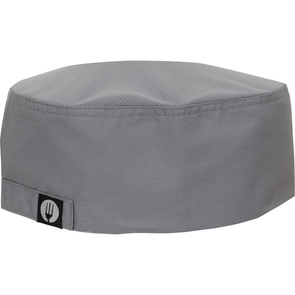 HAT, CHEF FLAT TOP, COOL VENT, GREY
