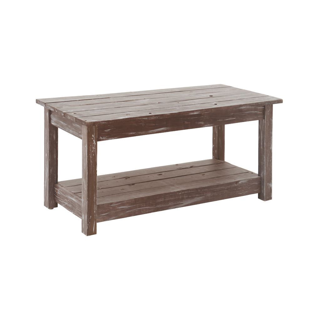 Rustic Table has Bottom Shelf