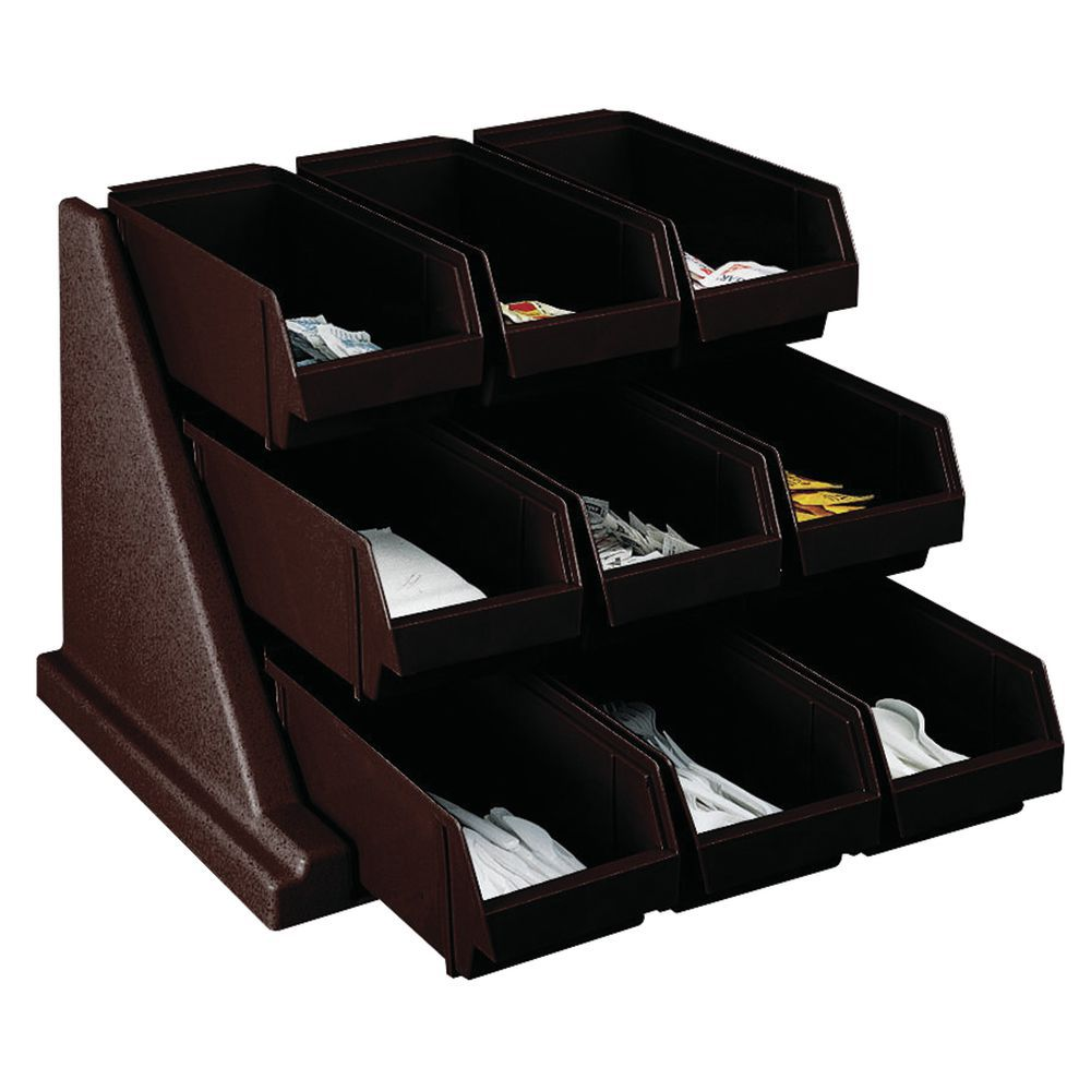 RACK W/9 BINS, DARK BROWN