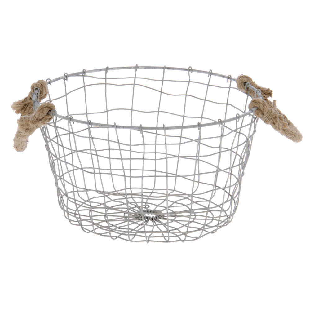 Silver Wire Basket with Rope Handles - 10 Dia x 6H