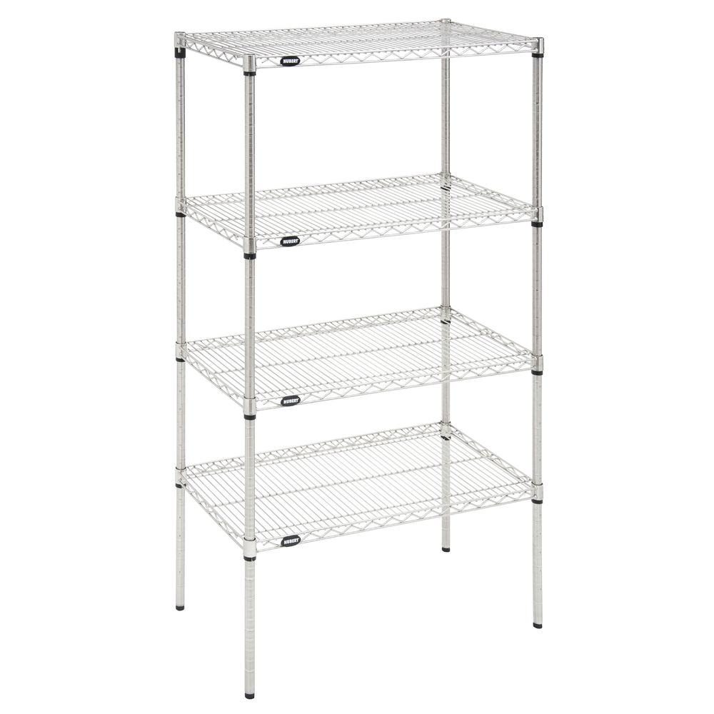 "SHELF UNIT, 4-SHELF, 18X36""-63""H, SILVER"