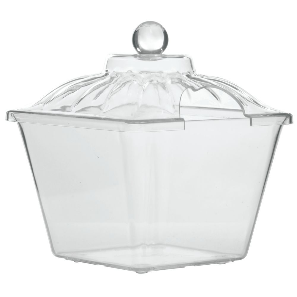 "Delfin Acrylic Amphora Jars in Clear 1 gal with Cut-Out Lid 8""L x 8""W x 9""H"