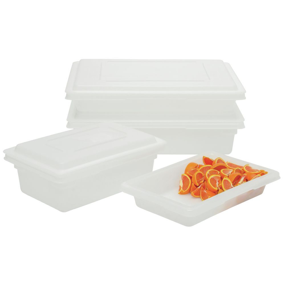 """Rubbermaid Food Storage Containers White Half Size 12""""W x 18""""L x 3 1/2""""D."""