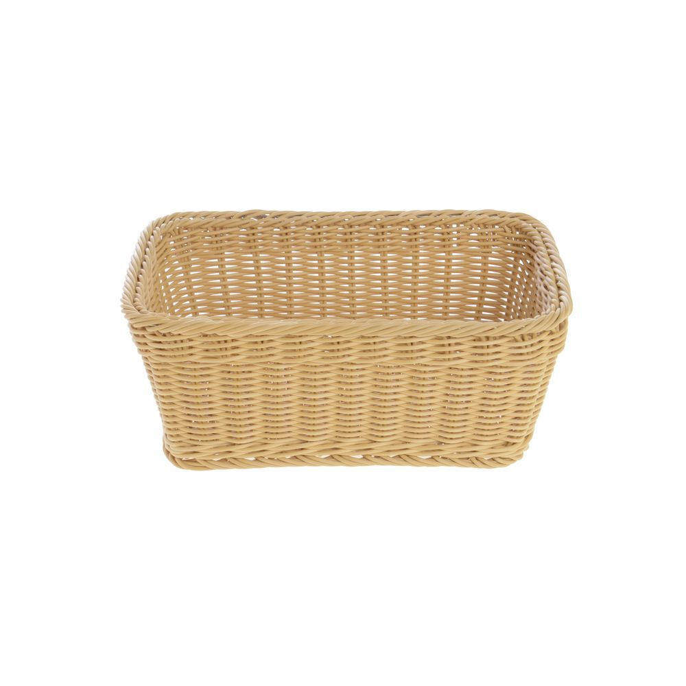 BASKET, WOVEN, RECTANGULAR, LIGHT BEIGE