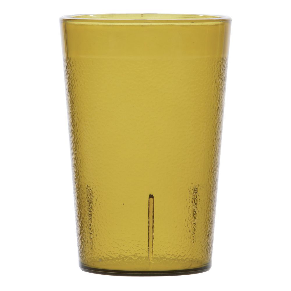 Carlisle Stackable 8 Oz Amber San Plastic Pebbled Tumbler