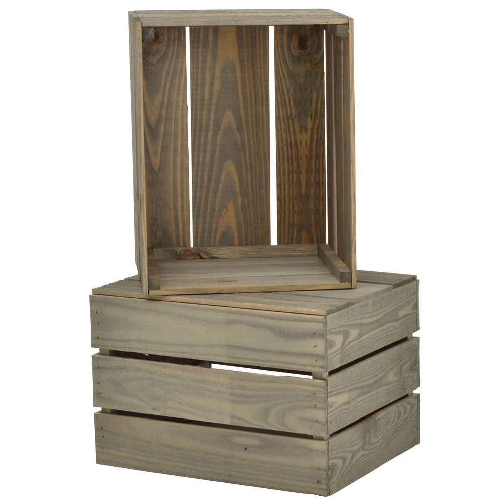 CRATE, STACKING, WEATHERWOOD SOLID PINE, 17